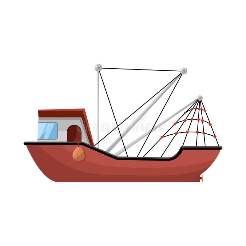 船和水标志的传染媒介例证 船和渔场股票简名的汇集网的 库存例证