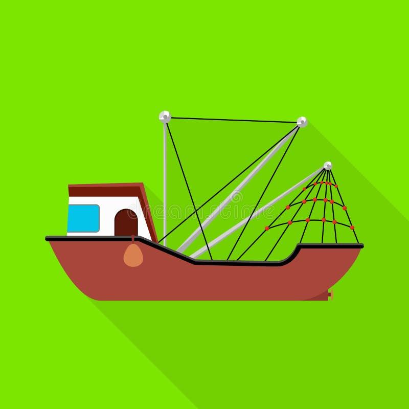 船和水象的传染媒介例证 设置船和渔场股票传染媒介例证 库存例证