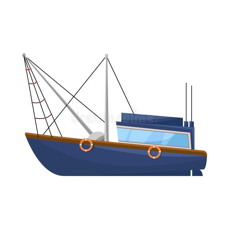 船和渔场标志的传染媒介例证 设置船和船股票传染媒介例证 皇族释放例证