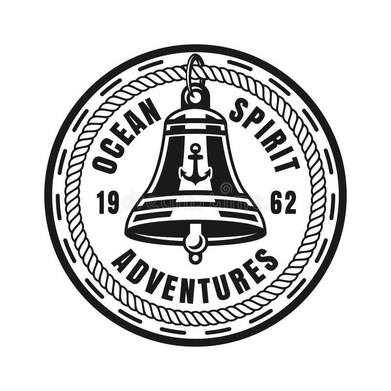 船围绕船舶葡萄酒徽章的响铃传染媒介 皇族释放例证