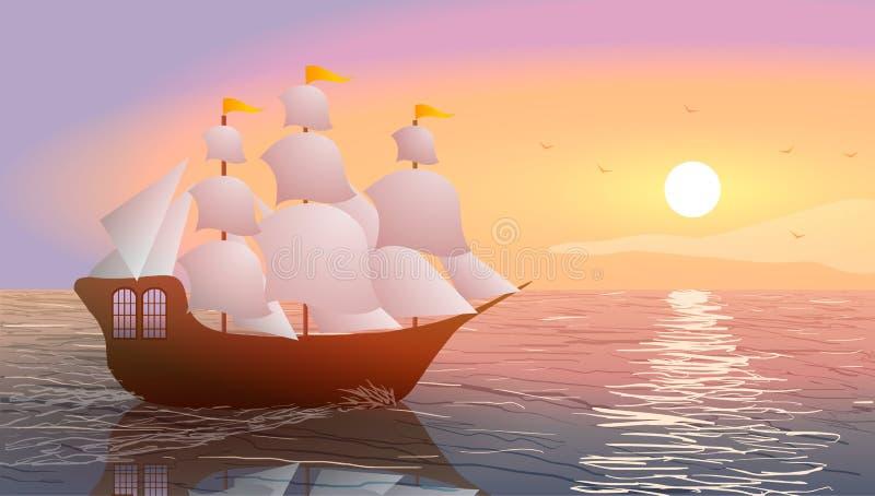 船在日落的海洋 向量例证