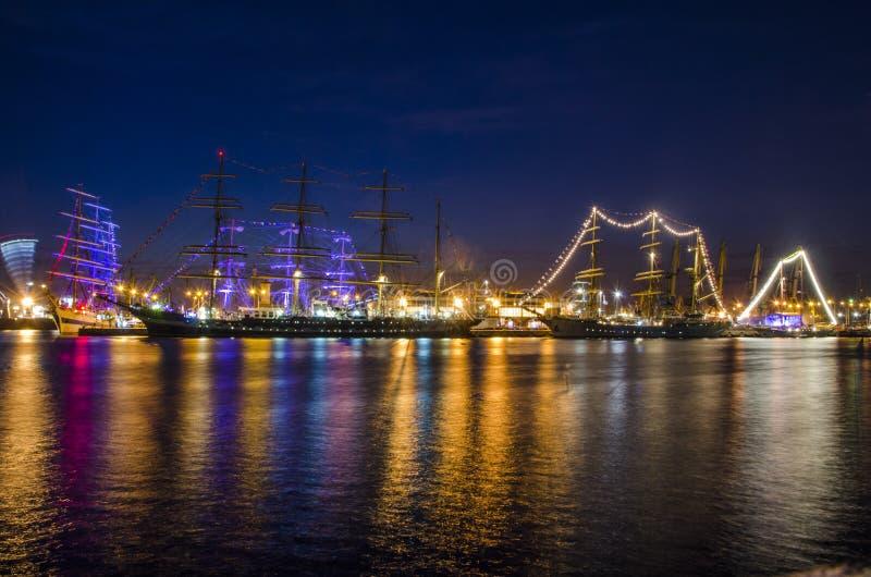 船在晚上 免版税库存图片