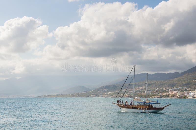 船在海,水彩 图库摄影