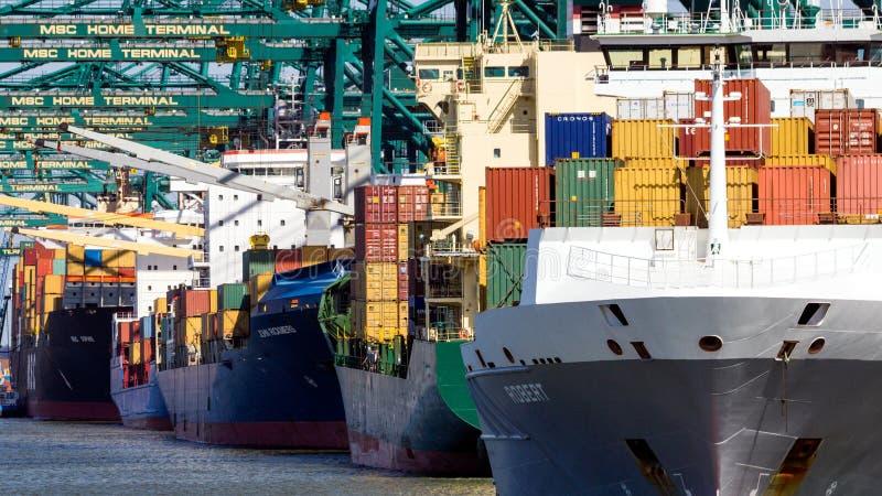 船在运输货柜口岸终端 库存照片