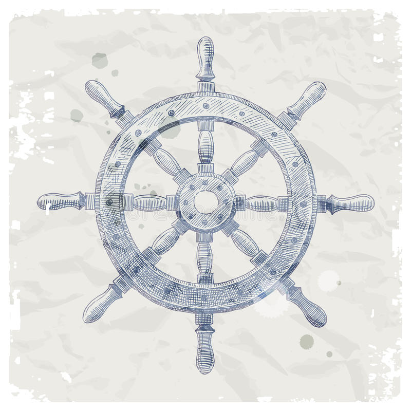 船在grunge纸张背景的方向盘 向量例证