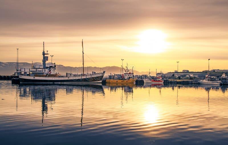 船在Husavik港口的在日落,冰岛 免版税库存照片