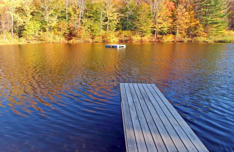 船坞, Grafton池塘, Grafton,在秋天的VT 免版税图库摄影