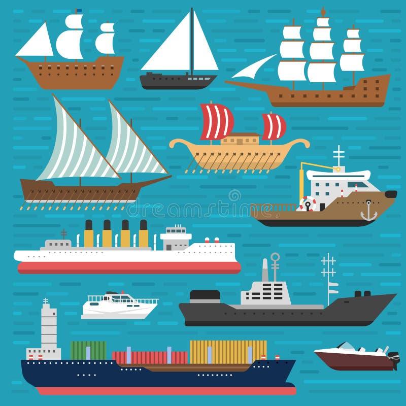 船巡洋舰小船海标志船旅行业传染媒介风船巡航套海洋象 向量例证