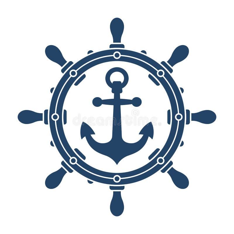 船方向盘和船锚航海标志 免版税图库摄影