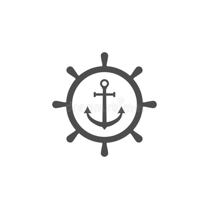 船方向盘,船锚象 : 皇族释放例证