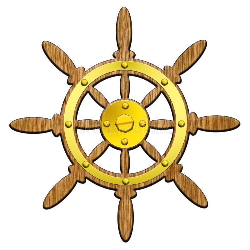 船方向盘 免版税库存照片
