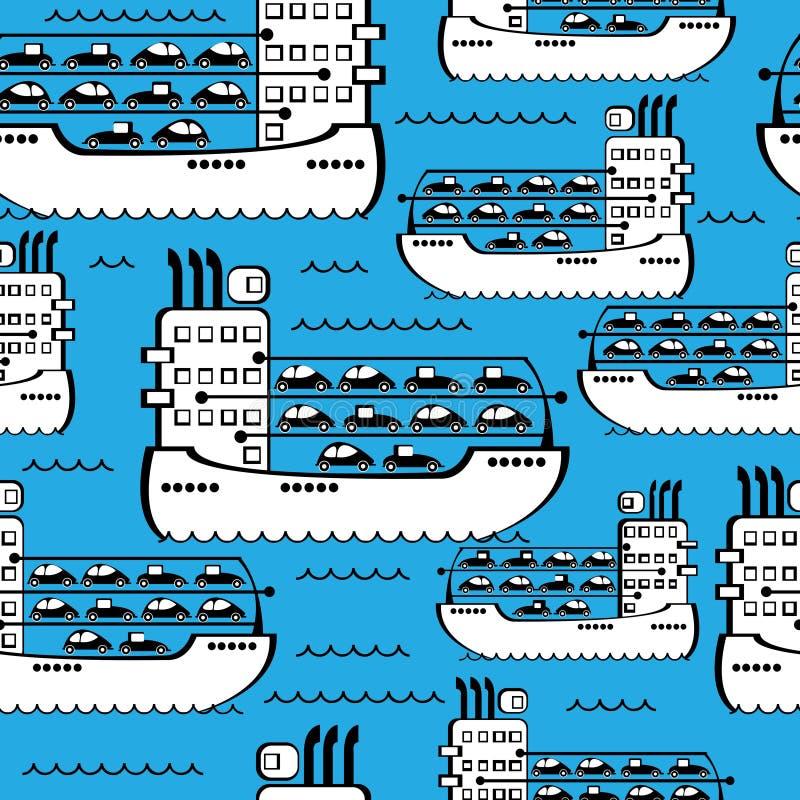 货船无缝的样式 向量例证