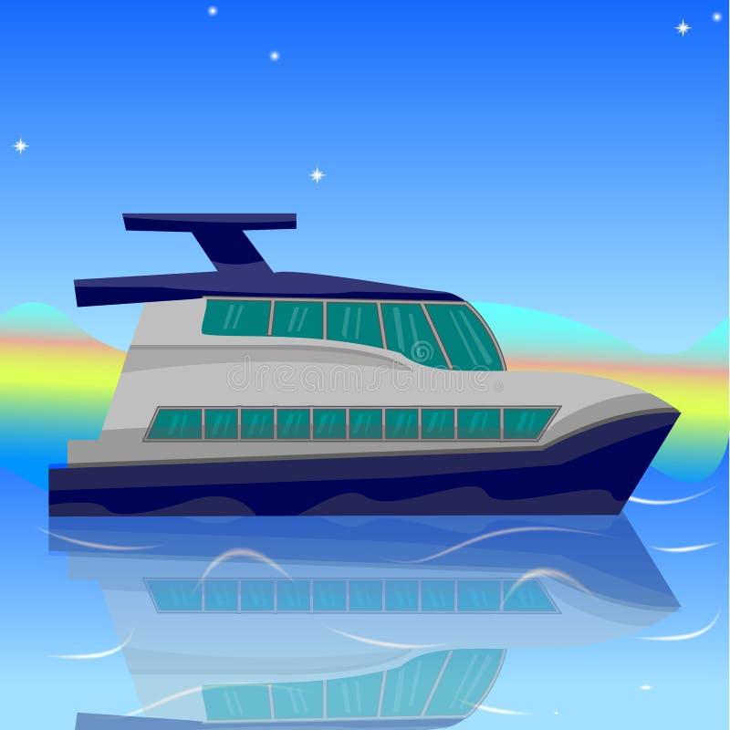 船的动画片例证,小船,游艇,反对se的小船 向量例证