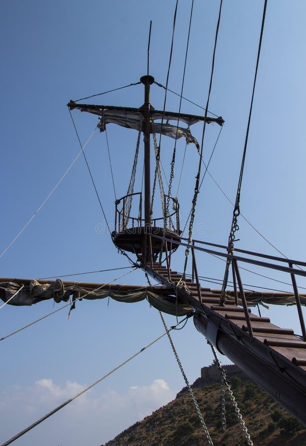 船的帆柱反对天空的 成功,高度的标志 免版税库存图片