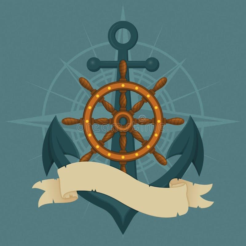 船的轮子、船锚和葡萄酒丝带 海军传染媒介例证 皇族释放例证