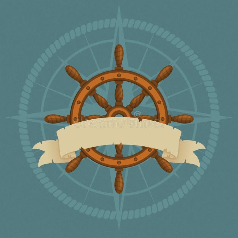 船的轮子和葡萄酒丝带与风和绳索剪影的玫瑰 海军传染媒介例证 向量例证