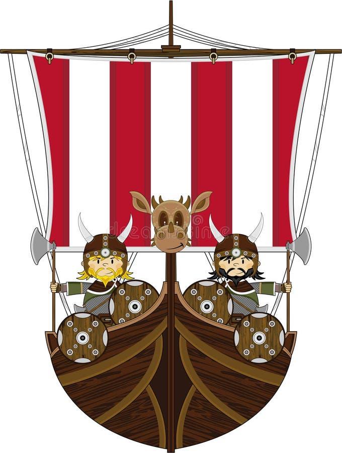 船的逗人喜爱的剧烈北欧海盗战士 皇族释放例证
