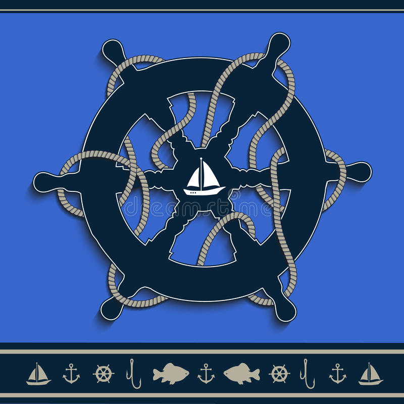 船舵海洋蓝色蓝色 皇族释放例证
