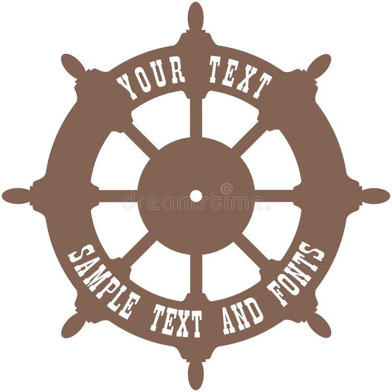 船舵 舰上有空白的方向盘您的文本的 向量例证