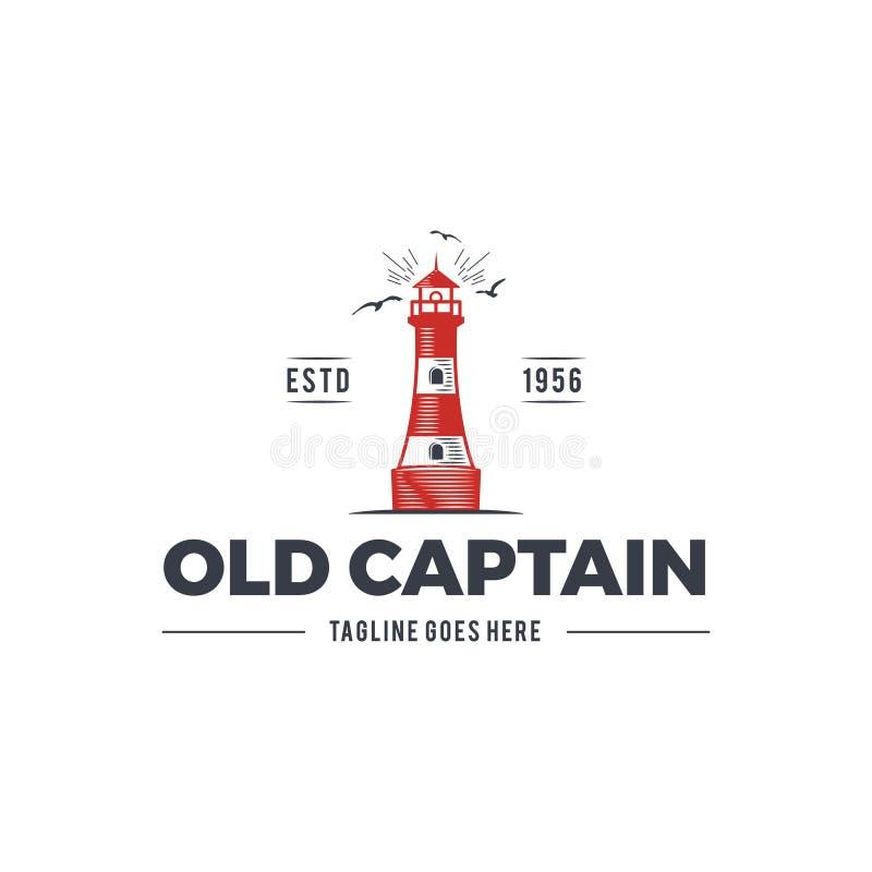 船舶商标设计、象老上尉象征与海元素-灯塔,海鸥、镶有钻石的旭日形首饰的航行标签或者徽章 向量例证