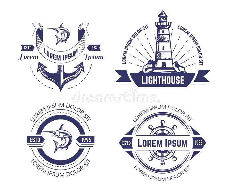 船舶或海洋标志和钓鱼被隔绝的单色象 向量例证