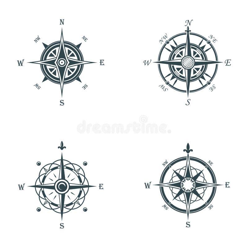 船舶或海洋老航海指南针 海或海洋葡萄酒或减速火箭的风为方向或经度上升了或者 皇族释放例证