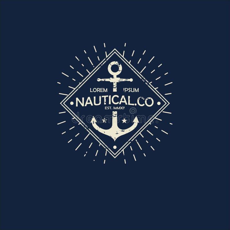 船舶样式商标激动人心的themplate,象征设计 葡萄酒海标签 皇族释放例证