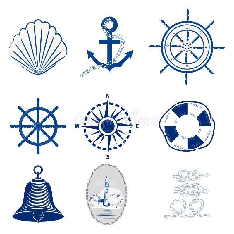 船舶模板设置了海洋标签海徽章船锚设计象征图表传染媒介例证 库存例证