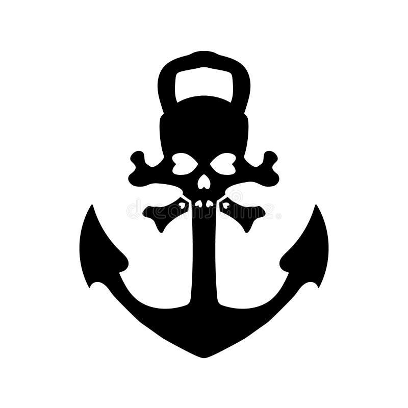 船舶海盗船锚,被隔绝的象 船船锚,葡萄酒黑色 海军陆战队员和纹章设计的传染媒介例证 10 eps 库存例证
