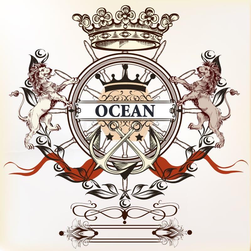 船舶略写法或标签与船锚、狮子和冠 向量例证