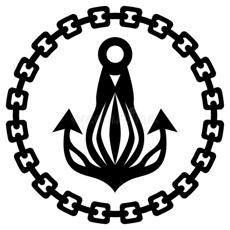 船舶船锚链剪影 皇族释放例证