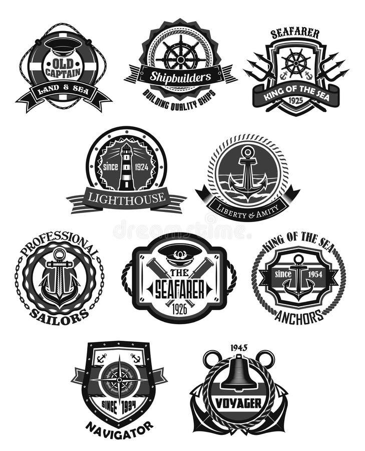船舶象征和海洋纹章学徽章集合 向量例证
