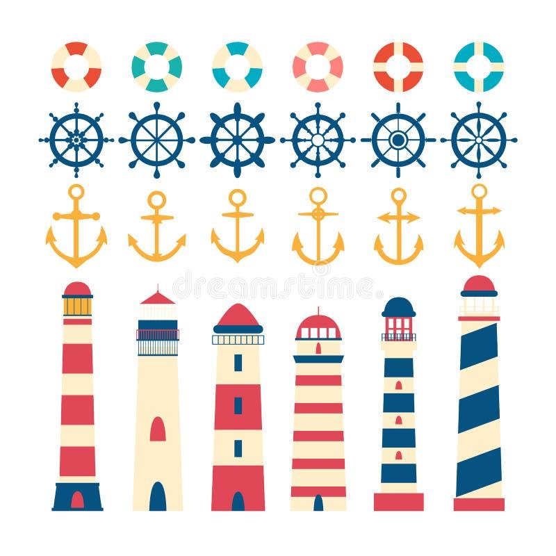 船舶集合 方向盘、灯塔,船锚和lifebuoy 库存例证