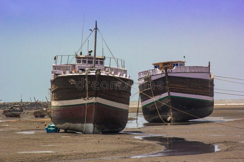 船船坞围场Mandvi,印度 图库摄影