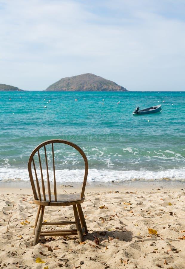 船身海湾海滩场面圣托马斯USVI 图库摄影