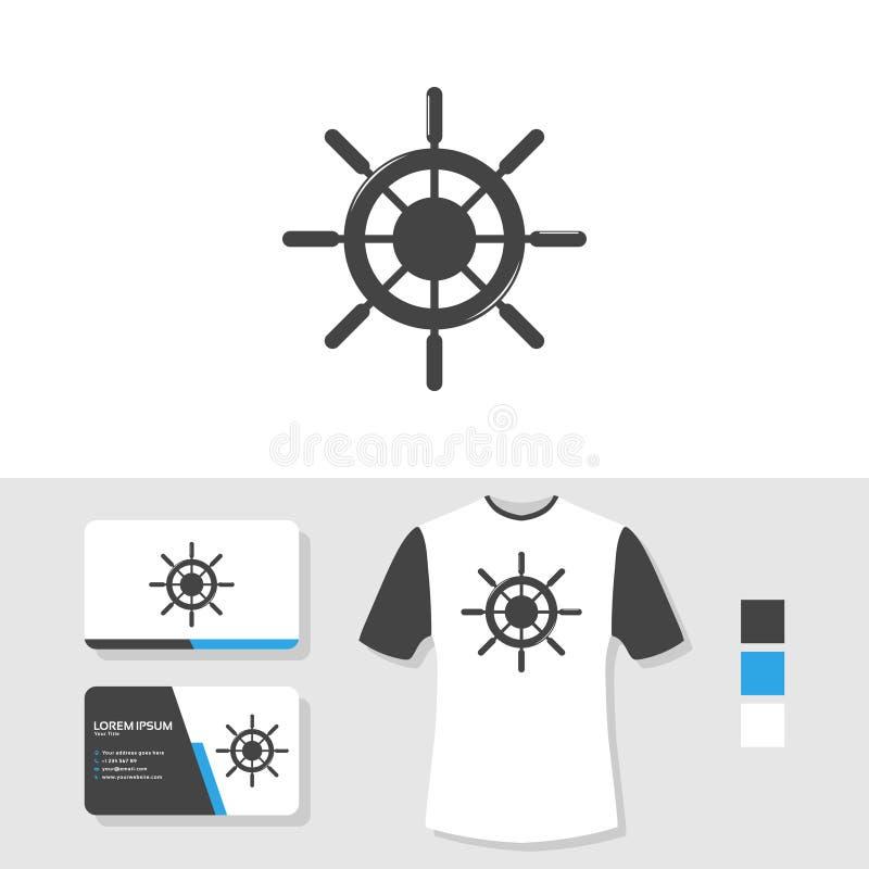 船轮子与名片和T恤杉大模型的商标设计 库存例证