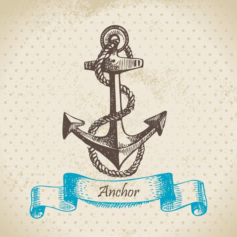 船锚。 手拉的例证 向量例证
