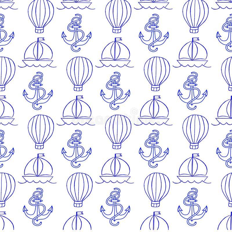 以船锚和气球的形式,导航与样式的例证 皇族释放例证