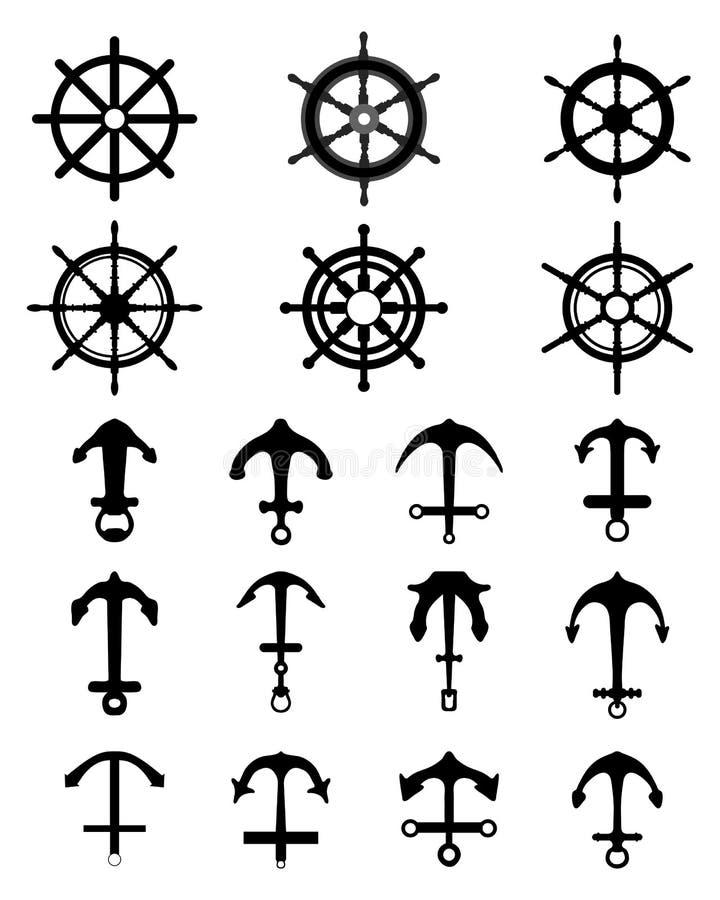 船锚和船舵 皇族释放例证