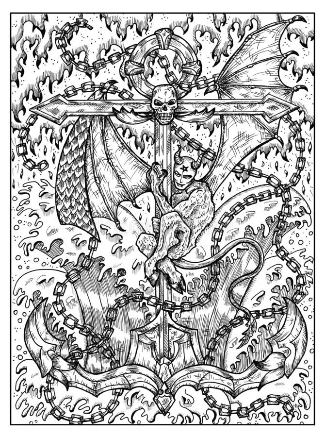 船锚和邪魔 Lenormand oracle占卜用的纸牌的黑白神秘的概念 向量例证