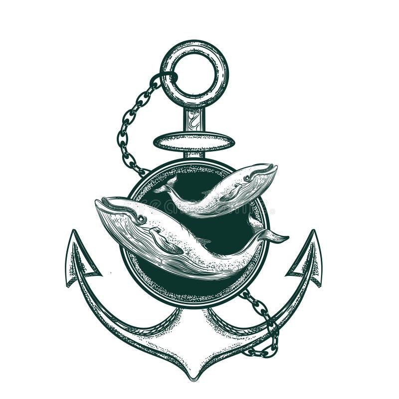 船锚和鲸鱼的传染媒介图象 纹身花刺剪影 向量例证