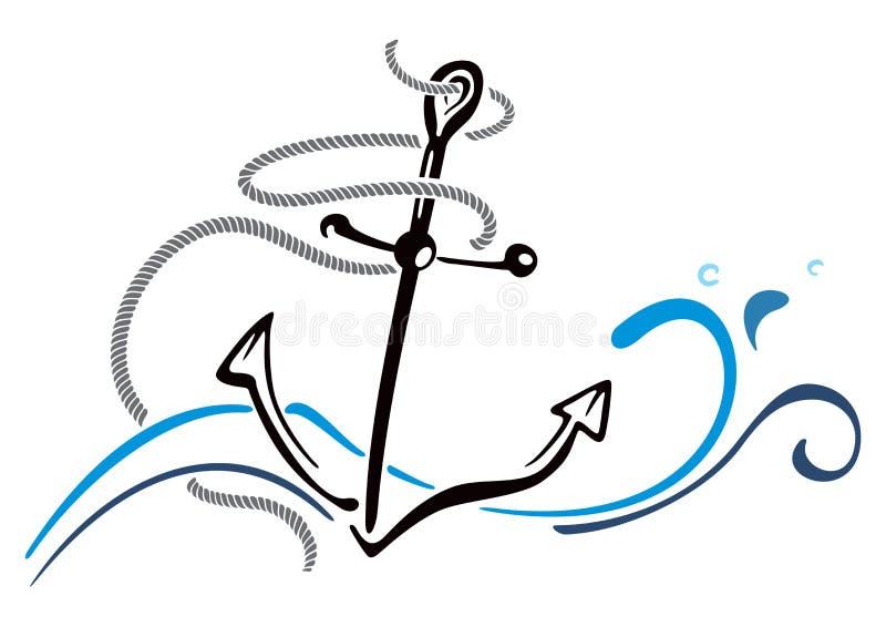 船锚在海 向量例证