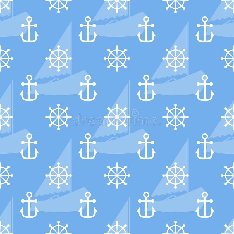 船锚的无缝的海样式, handweel和风船塑造 向量 库存例证