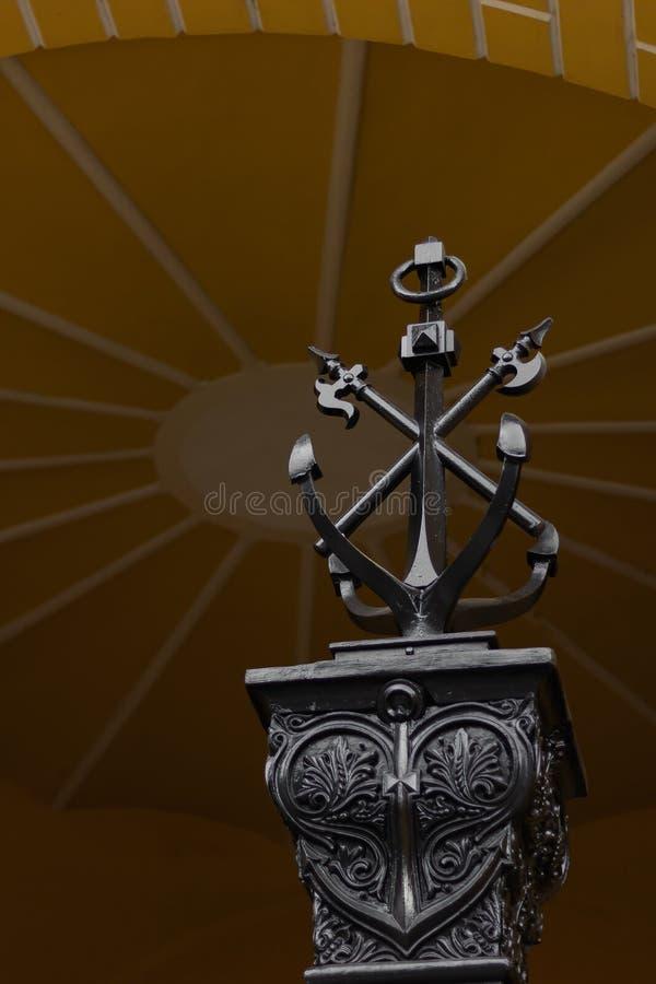 船锚纪念碑海军旅游标志的海军陆战队员 免版税库存图片