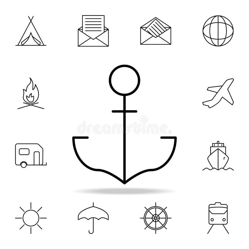 船锚象 简单的象,网络设计,流动app,信息图表的元素网站的 网站设计的稀薄的线象和 库存例证