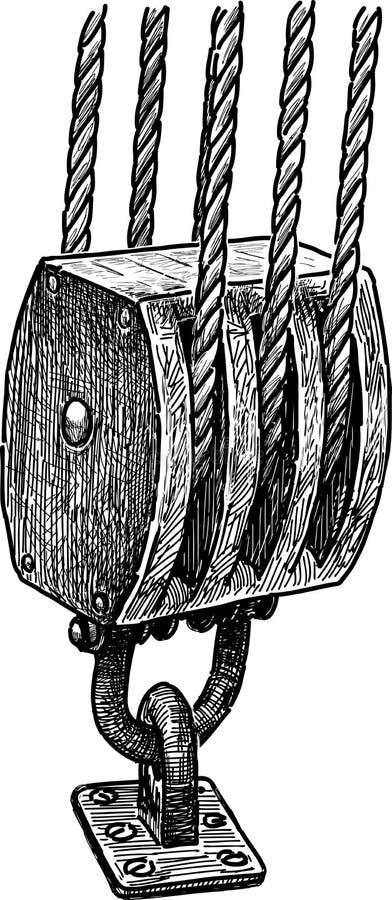 船索具的片段 皇族释放例证