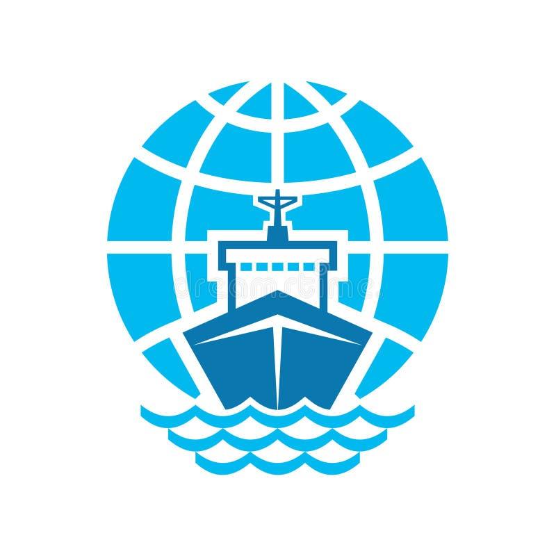 船&地球商标标志 皇族释放例证