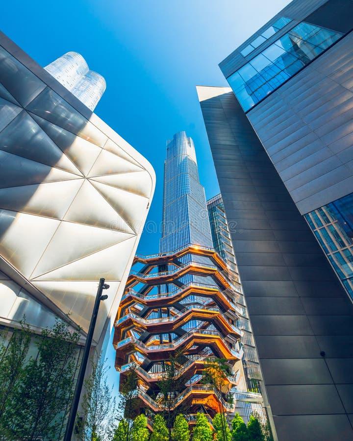 船TKA,螺旋形楼梯,新的公开地标在哈德森围场,NYC 免版税图库摄影