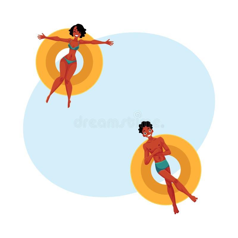 黑色、非洲年轻漂浮在可膨胀的圆环的人和妇女 向量例证
