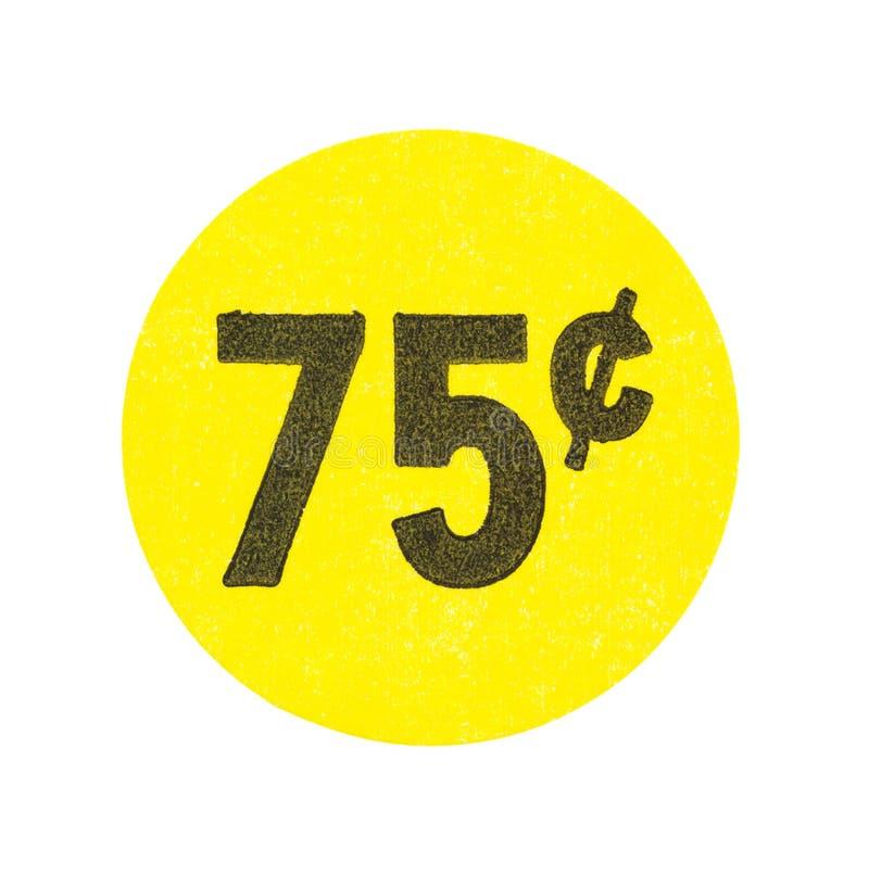 黄色七十五分车库售物贴纸 免版税库存照片